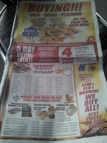 Gold buying ad in Philippine paper What's Next for Gold and Silver?