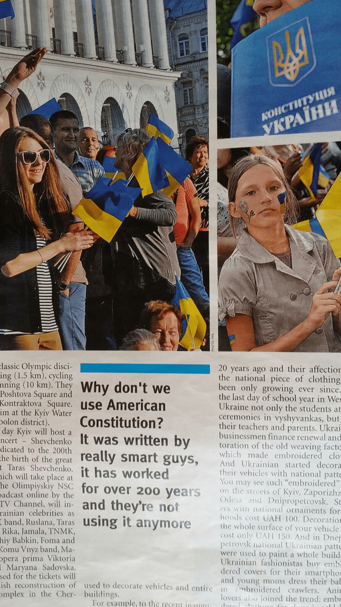 UkraineNewspaper1 Ukrainian journalist: Lets borrow from the US Constitution, theyre not using it anymore